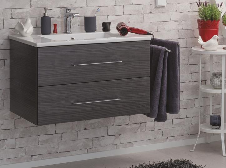 fackelmann waschtisch mit unterschrank 80cm farbe dark oak. Black Bedroom Furniture Sets. Home Design Ideas