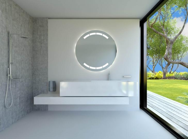 saturn ist ein runder spiegel mit rundherum beleuchtung. Black Bedroom Furniture Sets. Home Design Ideas