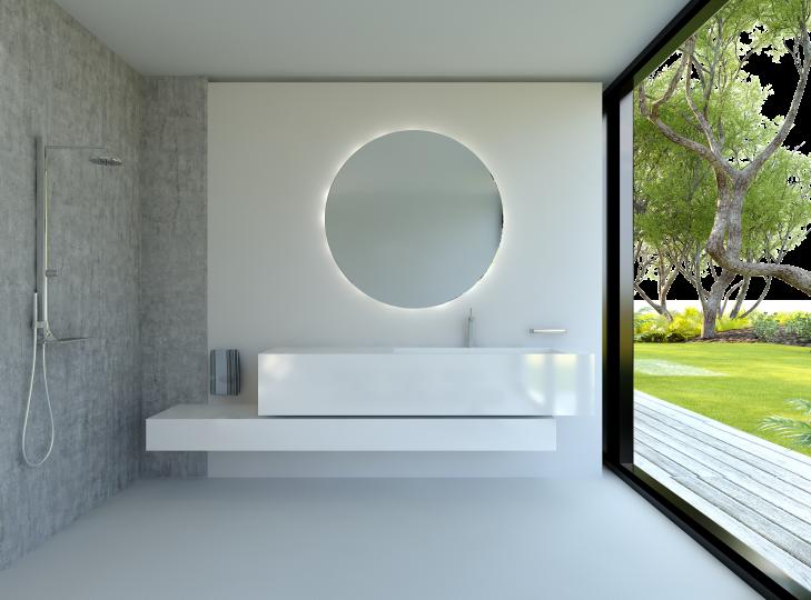 uranus ist ein runder spiegel mit rundherum beleuchtung. Black Bedroom Furniture Sets. Home Design Ideas